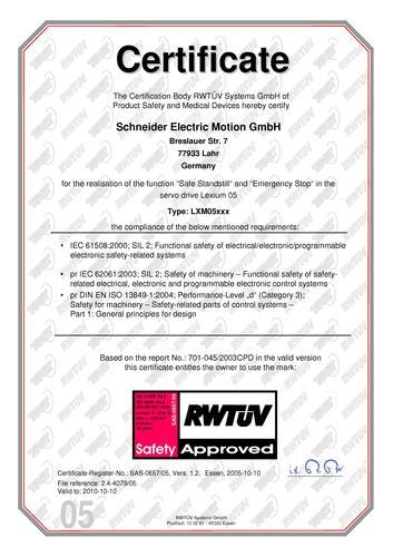 施耐德电气lexium 05TUV认证