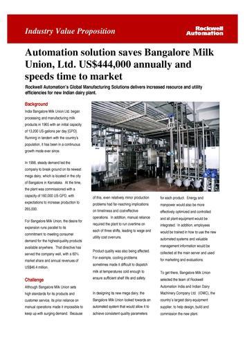 罗克韦尔自动化解决方案帮助Bangalore Milk Union Ltd加速上市时间
