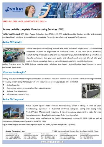 Avalue unfolds complete Manufacturing Services (EMS)
