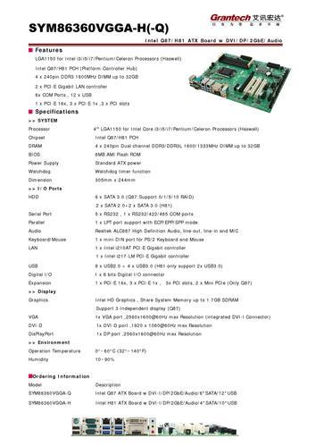 艾讯宏达Q87/H81芯片组工业母板SYM86360VGGA(英文)