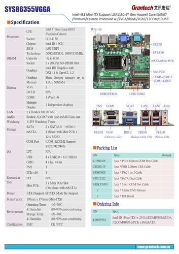 艾讯宏达 H81芯片组Mini-ITX主板SYS86355VGGA(英文)