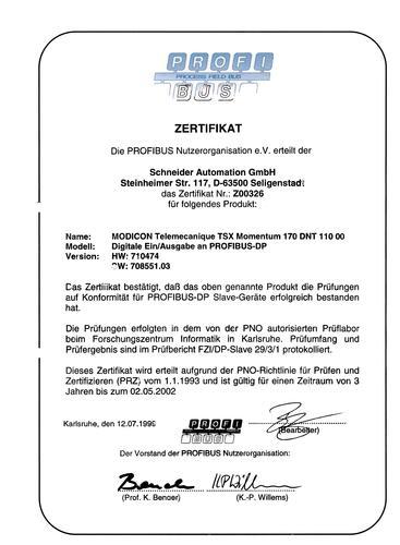 Telemecanique Momentum 170dnt11000profibuscertificate(产品认证)