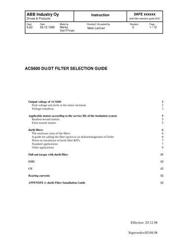 ABB NOCH du/dt 滤波器选型手册