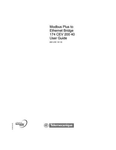 Modicon的MB+转以太网网桥174CEV20040模块的参考手册-2004-EN