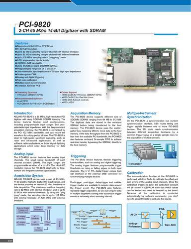ADLINK 高速数据采集卡PCI-9820 Manual