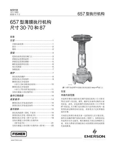 FISHER 657型薄膜执行机构操作手册